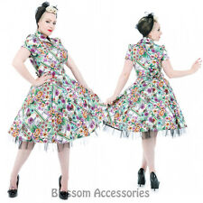 RKH59 Hearts and Roses H&R Party Floral Rockabilly Evening Dress 50s Retro Plus