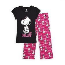 Peanuts Women's Pajama T-Shirt & Capris Snoopy (Just Chillin) Size Large & Small