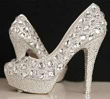 Royal Crystal Elegant Handmade Diamond Wedding Party Dress Women High Heels