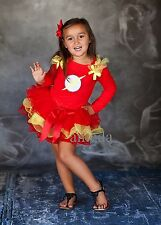 Halloween Girls Red Yellow Tutu Pettiskirt Flash Man Party Dress Costume 1-7Y