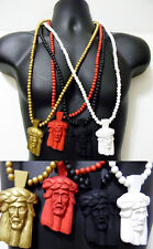 Rosary Beads Necklace Wood Pendant Jesus Piece Hip Hop Iced Out Beaded New