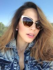 Designer Nastasya Ford Style Cat Eye Metal Frame Women Celebrity Gold Sunglasses