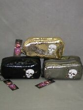 MIMI TOILET KIT ED HARDY BAG SKULL COSMETIC CASE NEW GOLD WOMENS SHINY