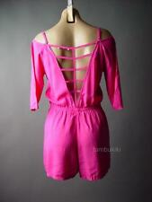 Hot Pink Strappy Back Open Shoulder Casual Shorts Playsuit 99 df Romper S