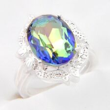 Huge Rectangle Round Rainbow Colored Topaz Gemstone Silver Ring Jewelry