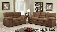 2pc Beige or Brown Fabric Sectional Room Sofa Loveseat Home Furniture Set #1307
