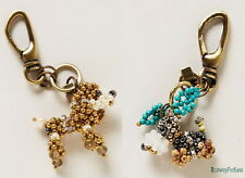 ANTHROPOLOGIE Pam Hiram Crystal Bead Beaded Dog Keychain Keyring Key Chain Ring