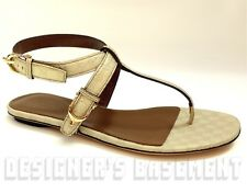 GUCCI ivory Micro GUCCISSIMA Leather NICE SPUR buckle Thong sandals NIB Authentc