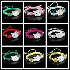 Wholesale lovely Rhinestone kitty-cat   CZ Crystal Disco Clay Ball Beads Bracele