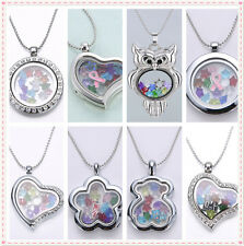 Free 13 Charms Birthstone Crystal Floating Charms Living Memory Locket Necklace