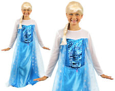ICE QUEEN GIRLS PRINCESS MOVIE CHILD COSTUME BLUE GOWN FAIRYTALE FANCY DRESS