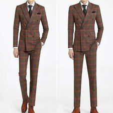 2014 F/W Premium Dress wedding chic mens Double Breasted check Orange suits B282