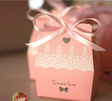100pcs Sweet Love Cute Ribbon Wedding Favor Candy Boxes Gift Box