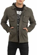 RUDE DESIGNED BY LIP SERVICE OLIVE TWILL MOTO HOODED MEN JACKET US SIZES