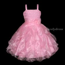 NEW Flower Girl Wedding Pageant Party Bridesmaid Dress Wear Set Pink SZ 5-9 Q465