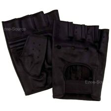 MENS LEATHER FINGERLESS DRIVING RIDING MOTORCYCLE BIKER GYM SPORTS GLOVES -BFHF