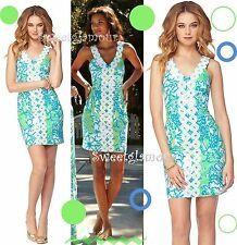 $228 Lilly Pulitzer Trudy Go Go Green Northeast Hahbah Lace Trim Shift Dress