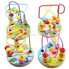 Baby Kids Early Education Colorful Wooden Around Beads Toddler Development Toys
