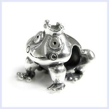 Sterling Silver Smiling Frog Prince with Crown Bead for European Charm Bracelet