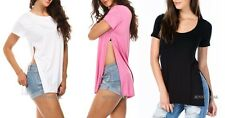 NEW CUTEST COMFY TRENDY  SPLITTING Up DOUBLE SIDE SLIT T SHIRT TOP S M L