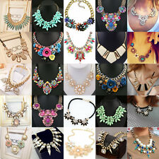 Fashion Charm Crystal Chunky Statement Bib Necklace Party Jewelry Flower Choker