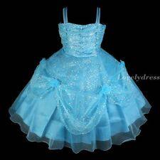 NEW Flower Girl Wedding Pageant Party Princess Bridsmaid Dress Blue SZ 4-9 Q432