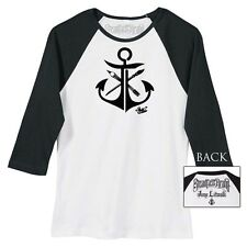 Women's Anchor by Jime Litwalk Artist Paint Brush Tattoo Baseball Black T-Shirt