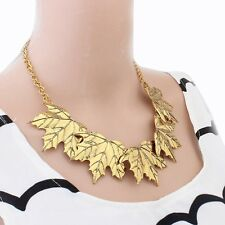 Fashion Gold Color Maple Leaves Bib Necklaces Occident Layers Leaves Fake Collar