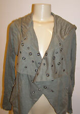 Silver Jeans charcoal cropped open hoodie with grommets