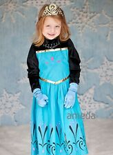 Halloween Xmas Girls Frozen Elsa Black Blue Coronation Party Dress Costume 3-8Y