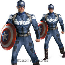 C986 Captain America Movie 2 The Winter Solider Classic Muscle Mens Costume