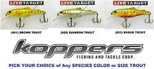 Koppers Live Target Trout Crankbait Jerkbait Any Rainbow Brown Brook TP TF Lure