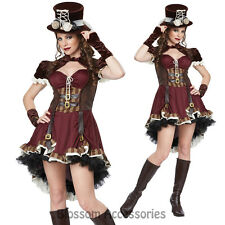 CL42 Steampunk Girl Adult Victorian Fancy Dress Up Halloween Party Costume