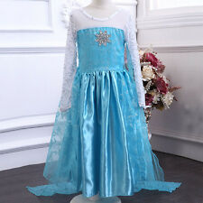 NEW Kids Girls Frozen Queen Elsa Costume Cosplay Fancy Princess Dresses 3-9Y