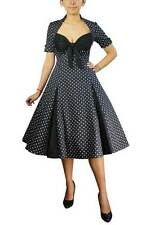 BLACK WITH WHITE POLKA DOT SWING DRESS RETRO VINTAGE 50s STYLE PINUP