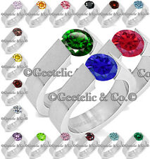 Stainless Steel Solitaire 1 Single Stone CZ Open Cut Tension Band Ring Size 5-10