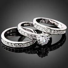 Hot 3-in-1 Cubic Zirconia 18KGF 925 Sterling Silver Engagement Wedding Band Ring