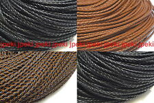 "Genuine Round Leather Cord 3mm 1/8"" Braided Bolo Leather Cord Bracelet N204"