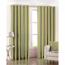 Just Contempo Sale – Supreme Faux Silk Green Curtain Panel + Tieback,  Ring Top