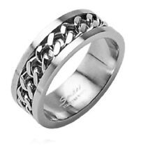 New Stainless Steel Couples Center Chain Spin Band Ring - Sizes 5-14