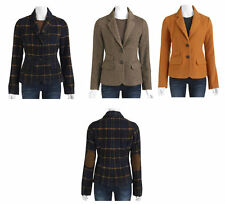 New I.B Diffusion Women's Faux Wool Blazer W/ Elbow Patches Orange Brown Plaid
