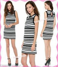 $595 M Missoni Tubular Zig Zag Chevron Knit Sleeveless Black White Dress 10 US