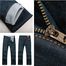 Fashion Polar Fleece Dark Blue Mens Jeans Many Sizes Button Fly Thick Jeans