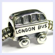STR Silver London Bus UK Britain Transportation Bead f/ European Charm Bracelet