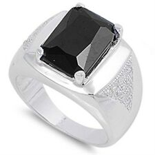 925 Sterling Silver Emerald Black Onyx CZ Men's Right Hand Stamp Ring Size 8-18