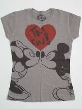 JUNIORS DISNEY Mickey Mini Mouse Kiss Heart Grey SHIRT TEE DRAWING TSHIRT Soft
