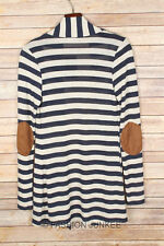 NAVY BLUE Beige STRIPED CARDIGAN Jacket Suede Elbow Patch Long Sleeve New S M L