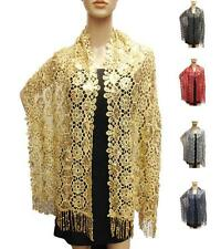 Daisy Lace Flower Scarf Evening Crochet Shiny Sequin Shawl Long Sheer Scarf NEW
