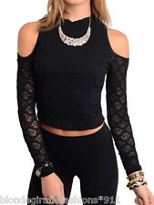 Black Stretch Mesh Lace Cropped Open Cold Shoulder Long Sleeve Top S M L