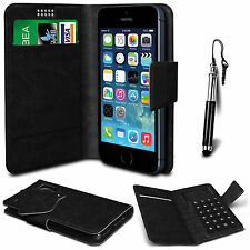 Black Leather Suction Wallet Flip Mobile Phone Case For Various Samsung Sets